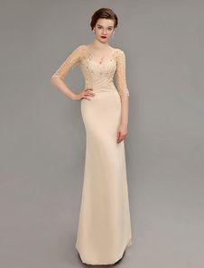 Champange lantejoulas pura mãe de manga do vestido de noiva com costas abertas