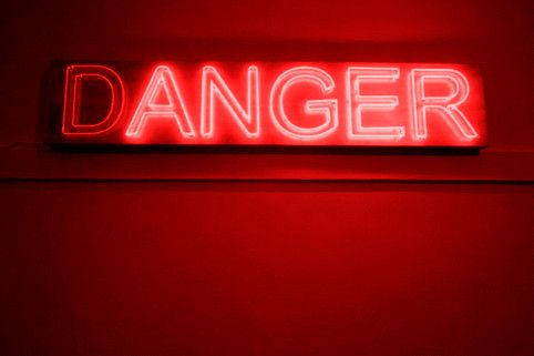 D(ANGER) RED NEON WORDS: