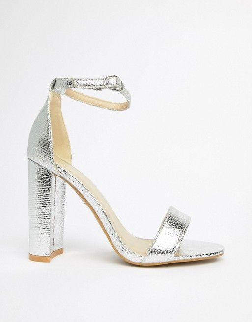 Glamorous Wide Fit Glamorous Wide Fit Silver Barely There Block Heeled Sandals Sandals Heels Trending Sandals Sandals