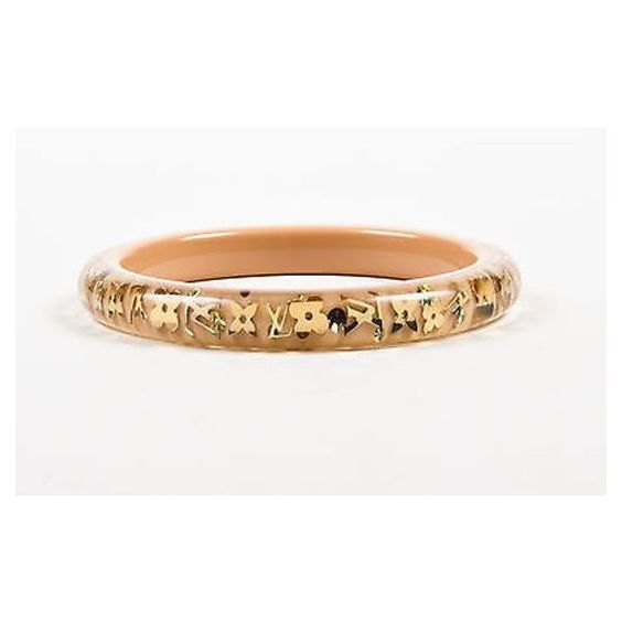 """Pre-Owned Louis Vuitton Beige Gold Tone Resin """"""""Inclusion... (380 CAD) ❤ liked on Polyvore featuring jewelry, bracelets, neutral, hinged bracelet, louis vuitton jewelry, gold tone bangles, resin bangle bracelet and swarovski crystal bangle bracelet"""