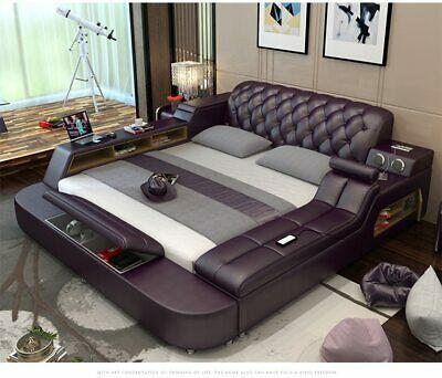 Genuine Leather Bed Frame Soft Beds Massager Storage Safe Speaker Led Light Ebay Bed Design Modern Leather Bed Frame Double Bed Designs