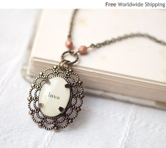Word Love necklace  Personalized necklace  by BeautySpot on Etsy, $25.00