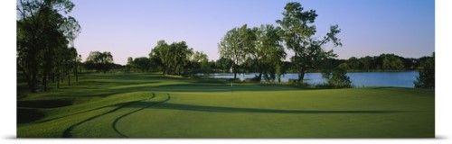 Poster Print Wall Art Print Entitled Lake On A Golf Course White