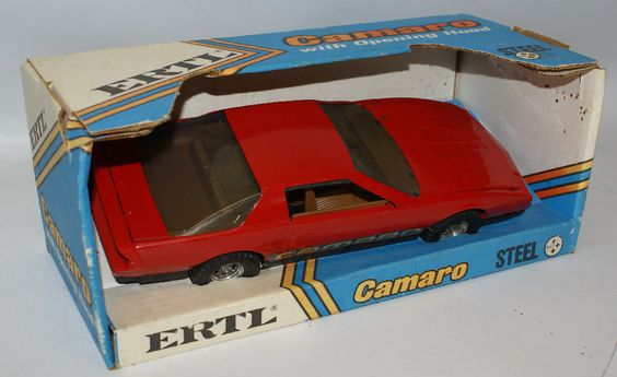 Vintage ERTL Pressed Steel 1:16 Scale #3691 Red Chevy CAMARO Toy Car, in Box