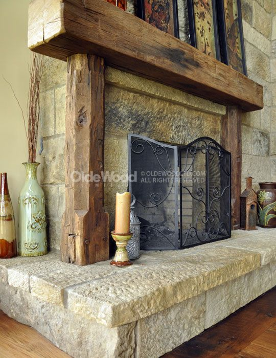 rustic fireplace mantels  barn beam our reclaimed For the Home Pinterest Rustic