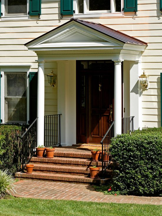 Traditional Entry Gable Front Porch Colonial Design