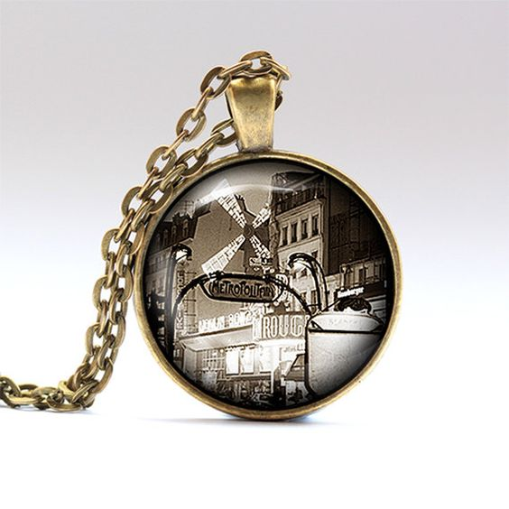 France jewelry. French chain. Paris charm.    Handmade pendant necklace, comes in bronze or silver finish, on a chain or a leather cord.    SIZE: 1