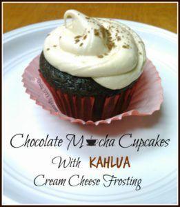 Chocolate Mocha Cupcakes with Kahlua Cream Cheese Frosting - DailyDIYLife.com