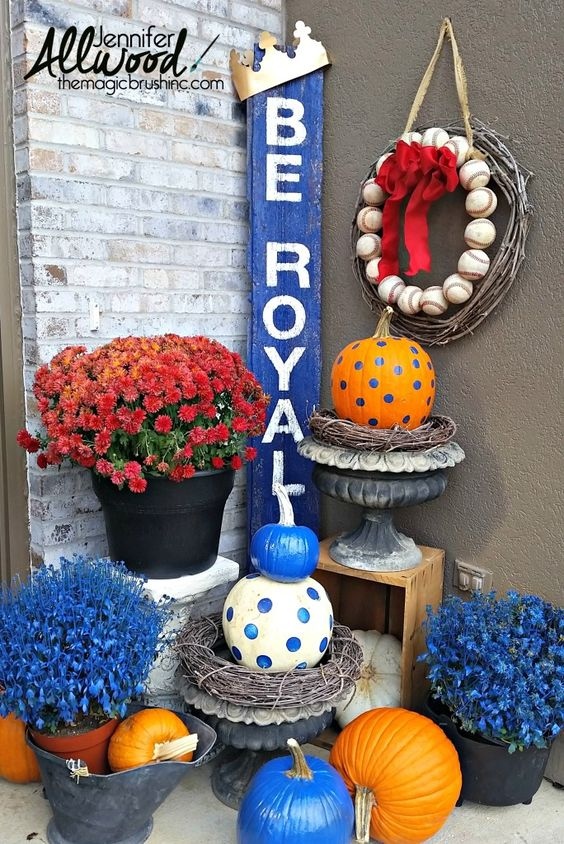 Royals Baseball sign Blue and Orange Fall Porch Decor (she spray painted her dead mums!)