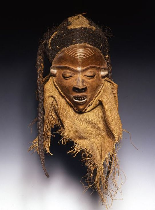 Africa | Mask from the Pende people of Congo | Wood and natural fiber | Early 20th century