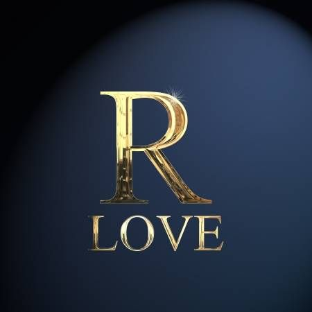 Gold Alphabet Letter R Word Love On A Blue Background R Letter Design Lettering Alphabet Stylish Alphabets