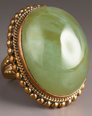 Vintage Green Jade Ring. Love but wish it was set in something silvery!