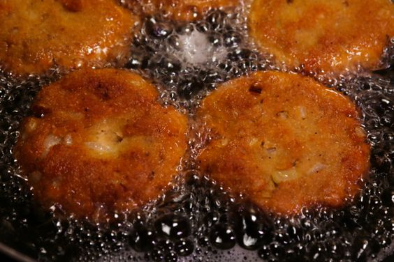 Southern Fried Salmon Patties Recipe Main Dishes with pink salmon, eggs, onions, cornmeal, flour, salt, ground black pepper