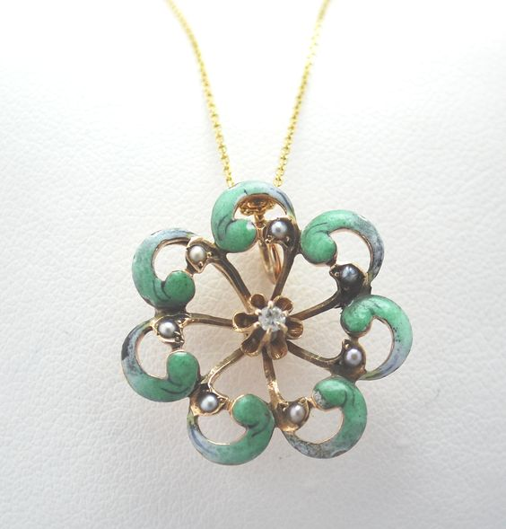Vintage Green Enamel Nouveau Swirl Pendant with center diamond and seed pearls