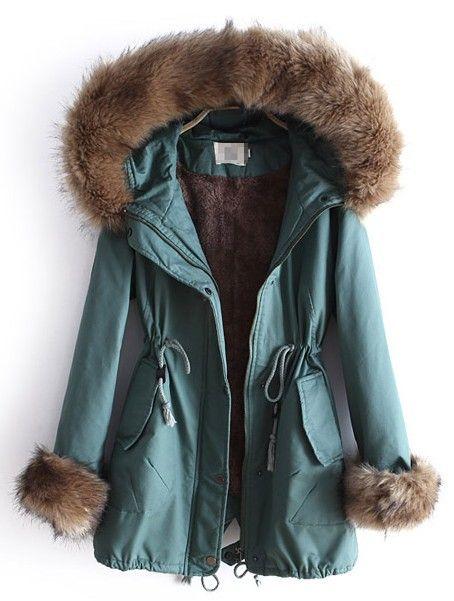 {Faux Fur Hooded Drawstring Coat}