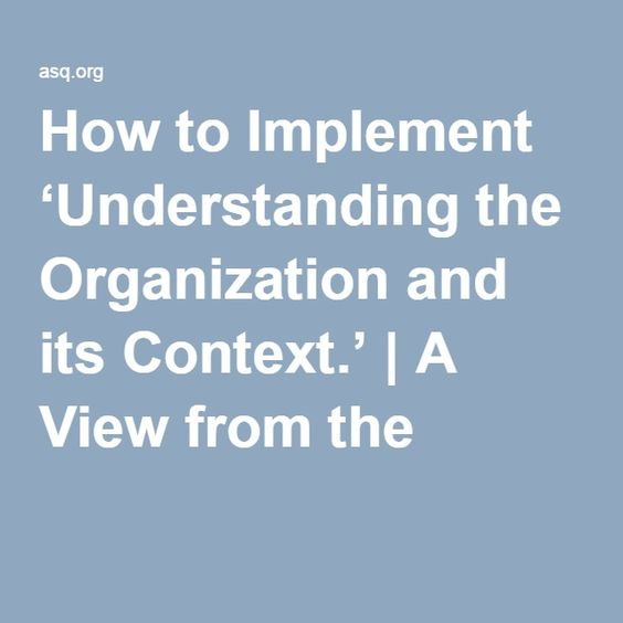 How To Implement Understanding The Organization And Its Context