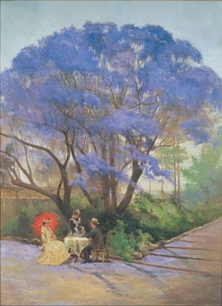 "R.Godfrey.Rivers (1858-1925) 1903 ""under the jacaranda"":"