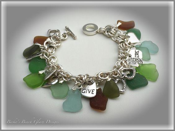Multicolored Sea Glass Cha Cha Bracelet, $64.00