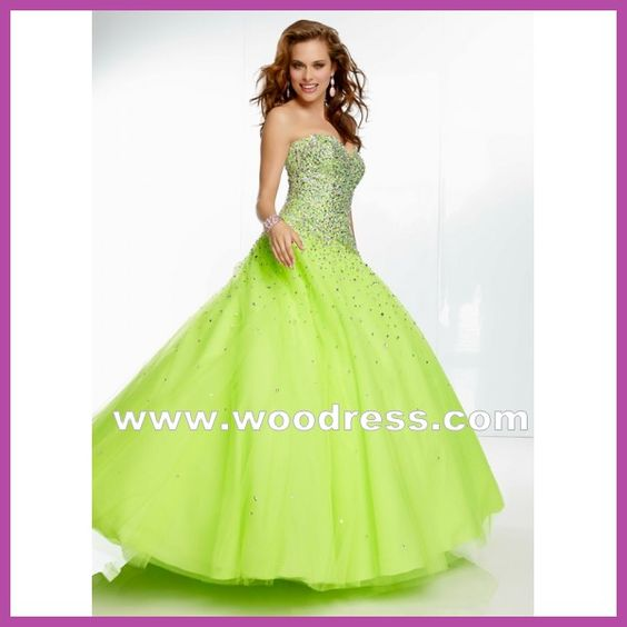 sexy strapless Beaded Tulle Ball Gown lime green prom dresses Style 95008