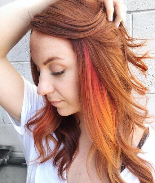 Orange Peekaboo Hair Highlights Peekaboo Hair Hair Color Highlights