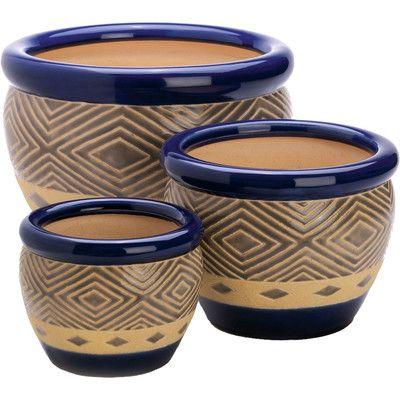 Found it at Wayfair - Dieren 3 Piece Round Pot Planter Set