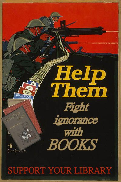 Wartime propaganda posters for the Save Our Libraries campaign.