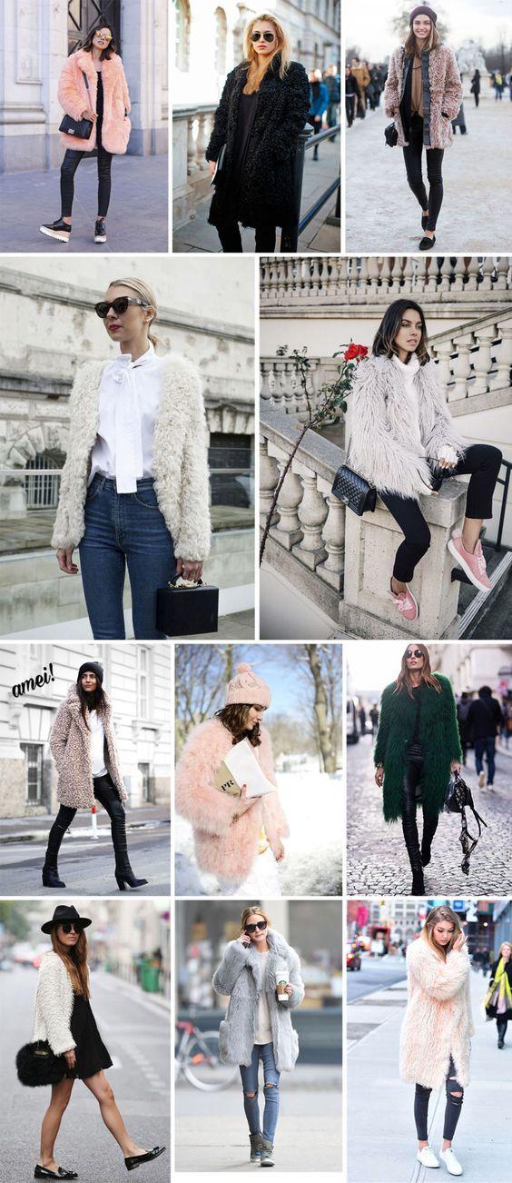 Fluffy Coat: nada mais é do que aqueles casacos bem fofinhos e peludos! Os Fluffys Coats são ótimos para serem usados como camada final do look, por cima de outras malhas ou moletom, e o melhor é que ele por si só já chama bastante atenção, né?!