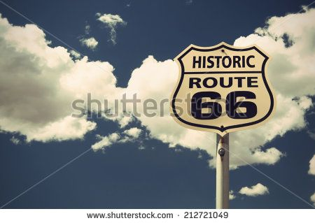 historic Route 66 sign, vintage style, Arizona, USA - stock photo