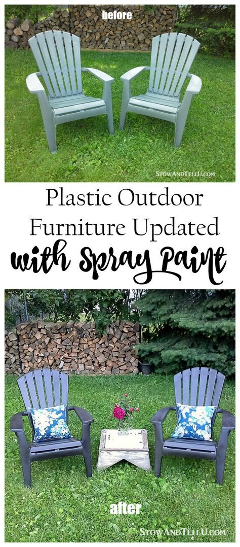 Refreshing outdoor plastic furniture with spray paint - and a tip for an easy spray paint booth StowandTellU.com
