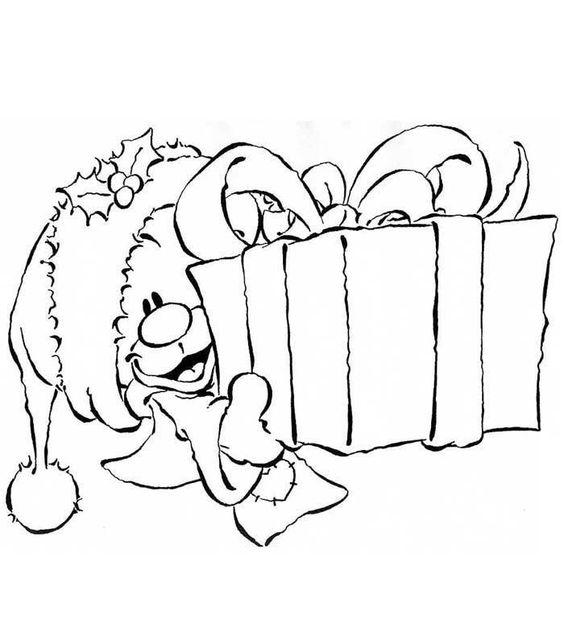 coloriage pimboli offrant un cadeau: