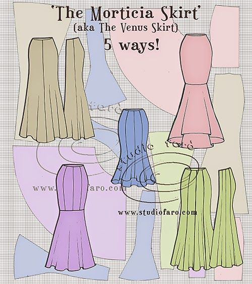 Though this isn't a photo of a piece of skirt or bodice, I did find these flat drawings to be rather interesting. It shows off the ways you can have the point where tthe flow of the skirt begins and where the fitted portions of the skirt are. It also shows off the panels of skirts you can create in a design.