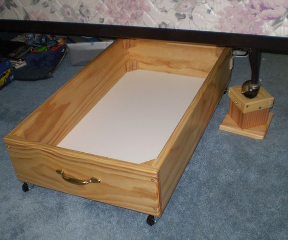 Under Bed Storage 8 Inch Rolling Drawer Clear Lacquer