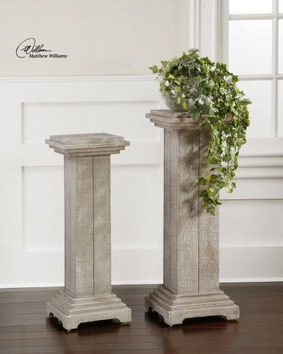Accent tables plant stands set s 2 solid fir wood pedestal column design square plant stands - Column pedestal plant stand ...