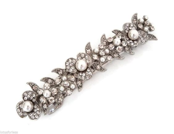 Beautiful Vintage Pearl Crystal Flower Leaf Design Barrette Hair Clip Bridal