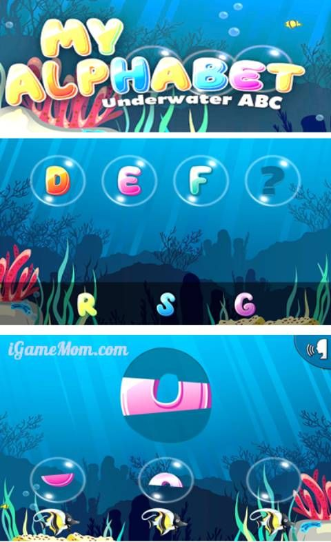 A fun alphabet app for toddler and preschool kids to learn ABC, with underwater theme and interactive games. A fun early learning apps for kids.