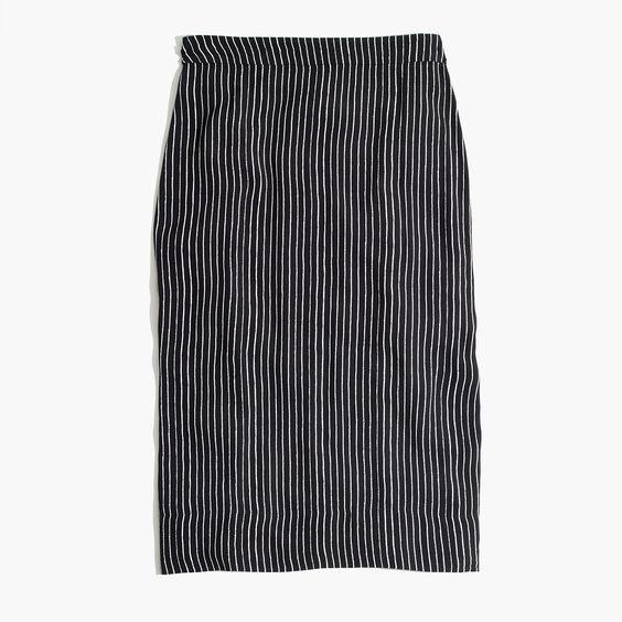Madewell Striped Side-Slit Midi Skirt