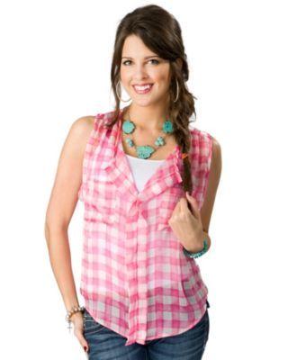 Vintage Havana® Women's Pink and White Gingham Print Hi-Lo Sheer Sleeveless Fashion Top
