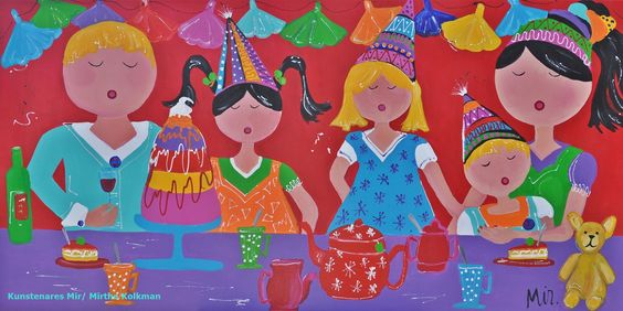 Veelzijdig kleurrijk kunstenares Mir/ Mirthe Kolkman waaronder. deze serie.  kleurrijk kunstwerk  gezellige vrolijke kunst art  schilderen portretschilderij familie dagelijks tafereel fest verjaardag slingers party taart thee drinken schilderij colourful artworks