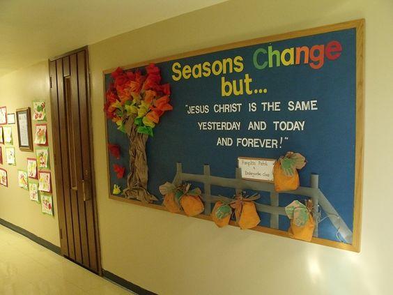 Here is my one of my first Pinterest inspired bulletin boards for our church/school hallway, combining several pin ideas for various  aspects. The Kindergarten children made the pumpkins.