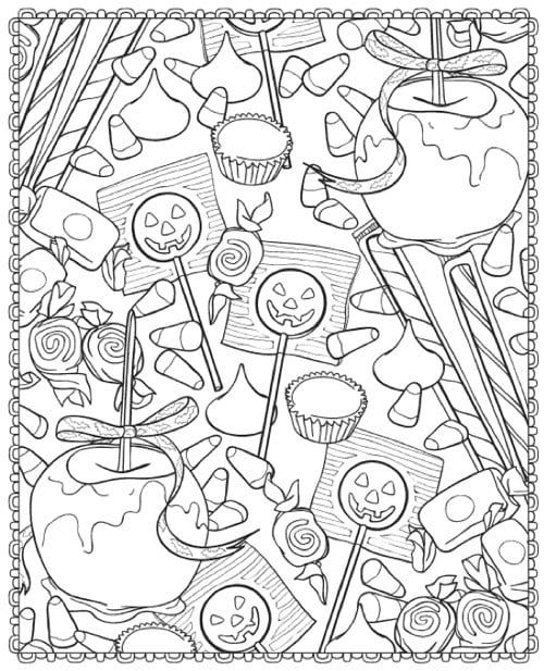 Candy Apples And Lollipops Printable Candy Coloring Pages Halloween Coloring Book Fall Coloring Pages