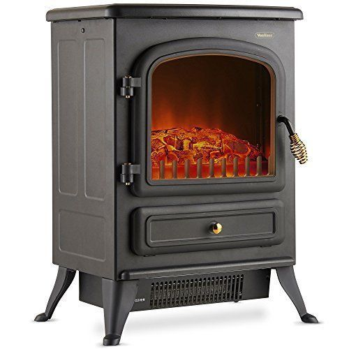 Electric Fireplace Stove Heater Portable Free Standing With Log Wood Burning Hot Burning In 2020 Stove Heater Electric Stove Heaters Wood Burning Heaters
