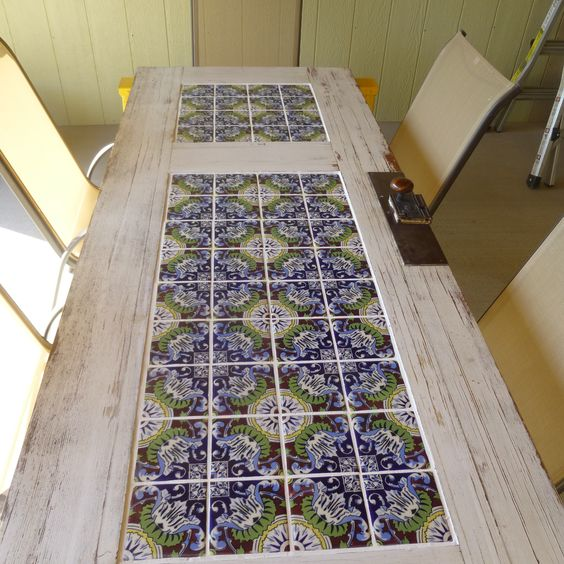 Tile and a old door patio table backyard landscaping ideas pinterest patio old doors - Basics mosaic tiles patios ...
