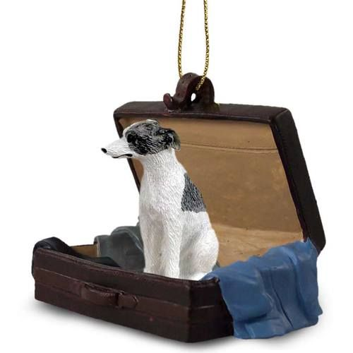 Whippet Gray White Dog Tag Along Carrycase Ornament