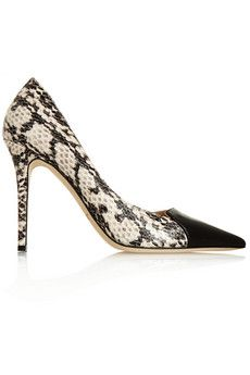 Jimmy Choo Holt snake-effect leather and patent-leather pumps | NET-A-PORTER