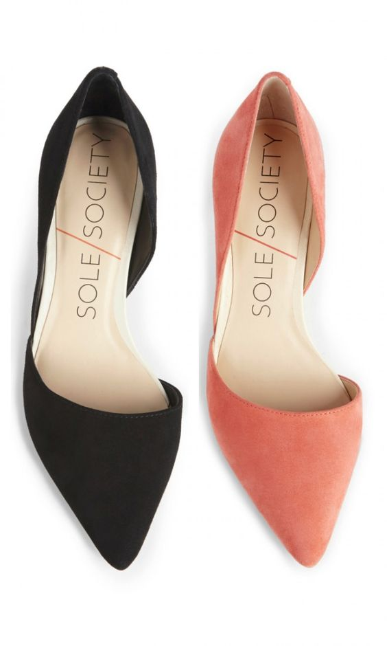 Suede mid heel d'Orsay pumps with a pointed toe, perfect for office to happy hour