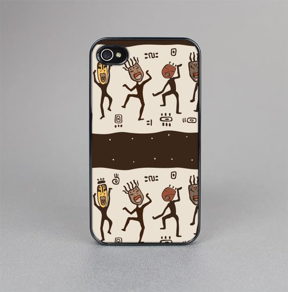 The Dancing Aztec Masked Cave-Men Skin-Sert for the Apple iPhone 4-4s Skin-Sert Case