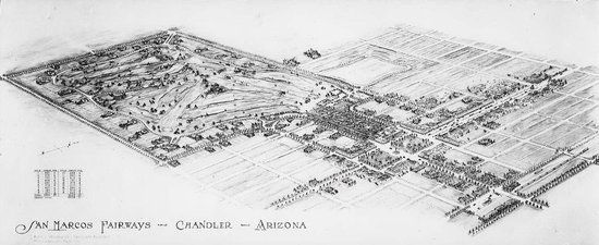 """Large aerial drawing of the plan for the town of Chandler and the golf course.  """"San Marcos Fairways- Chandler- Arizona"""""""