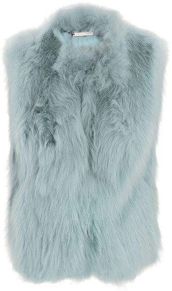 DIANE VON FURSTENBERG Blue Neo Fur Gilet