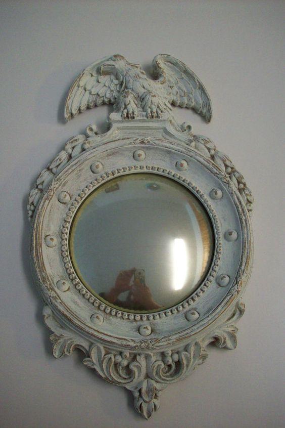 Shabby Cottage Cream Eagle wall Mirror/ by UpcycledCottageDecor