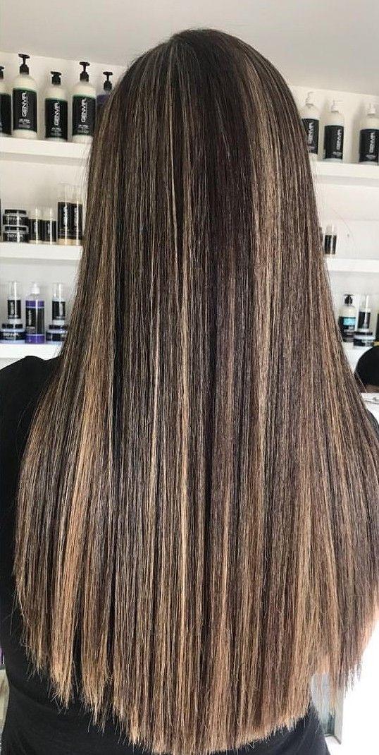 Long Hair Straight Hair Highlights Brunette Hair With Highlights Straightening Natural Hair